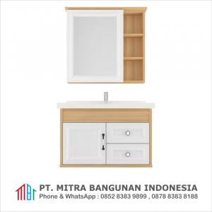 Shunda Cabinet PVC - Wall Mounted - Natural Maple and White Woodgrain - G80B-0601