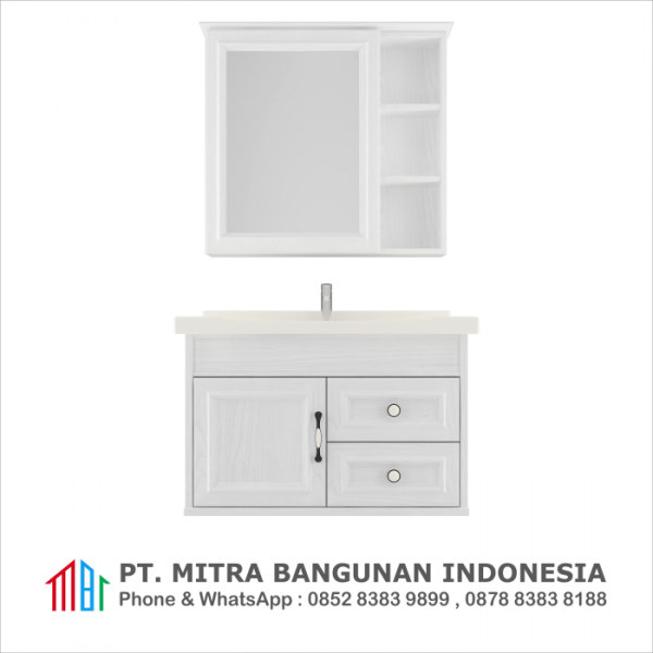 Shunda Cabinet PVC - Wall Mounted - White Woodgrain - G80B-0301